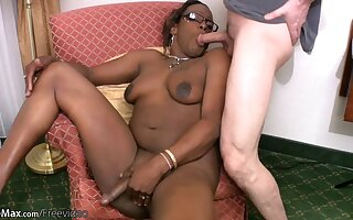 Chubby shemale strips off and reveals her dark tits