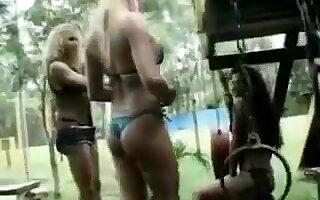 2 lady-boy fuck girl outdoors