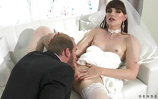 Dressed like a china horny shemale Natalie Mars is analfucked doggy