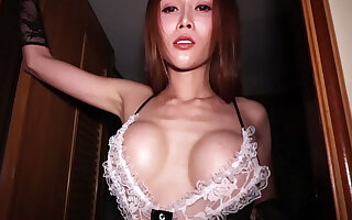 Broad in the beam tits ladyboy mademoiselle Alice cleans a Broad in the beam cock beside her mouth increased by asshole