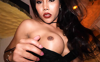 Curvy Asian ladyboy Far is a realized sex bomb with respect to her big ass added to big soul